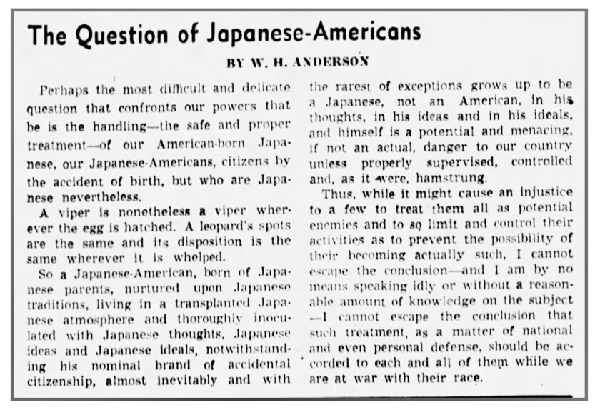 """An old article in the Los Angeles Times headlined """"The question of Japanese-Americans"""""""