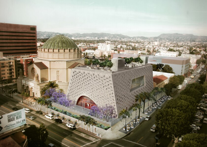 A rendering of the Audrey Irmas Pavilion besides the Wilshire Temple in Koreatown. The pavilion was
