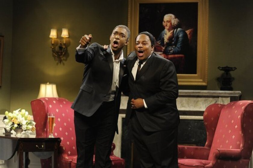 """Jay Pharoah (left, in a January 2013 sketch) and Kenan Thompson are the only black performers on NBC's """"Saturday Night Live."""""""