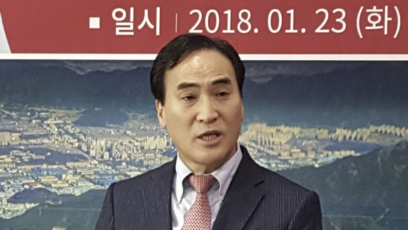 Kim Jong Yang speaks at a news conference in Changwon, South Korea, earlier this year. On Wednesday, Interpol elected him as its president in a blow to Russian efforts at naming one of their own.