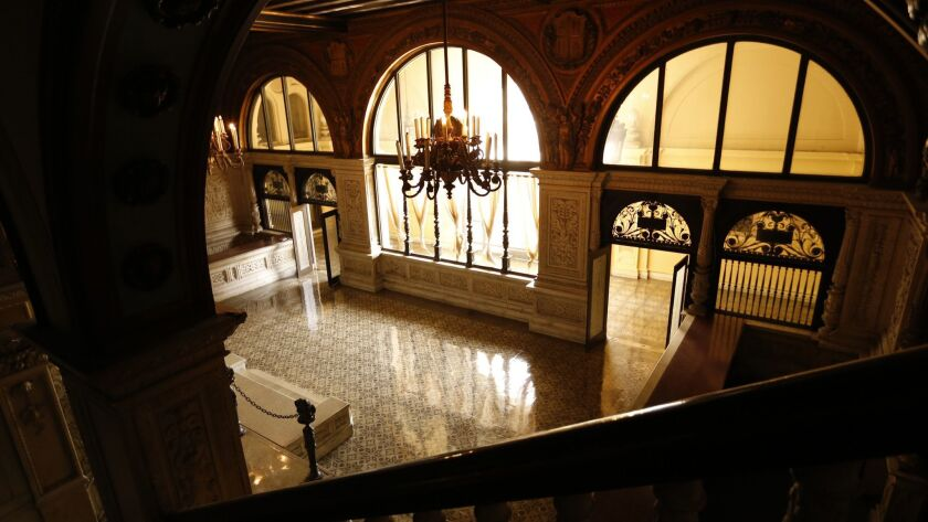LOS ANGELES, CA - AUGUST 27, 2015: Marble columns and stair balustrade in the ornate lobby of the H