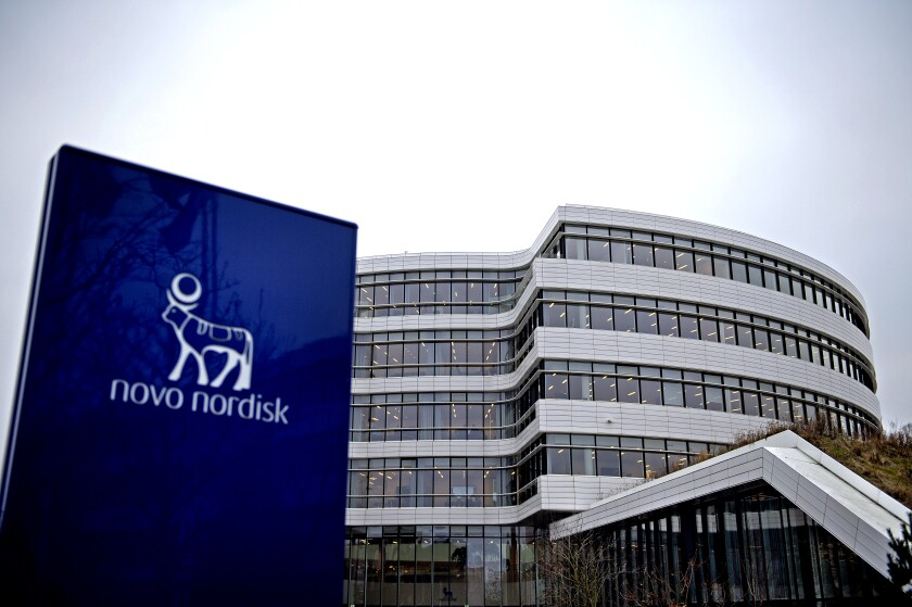 This photo shows the logo of Danish pharmaceutical company Novo Nordisk in front of the firm's headquarters near Copenhagen