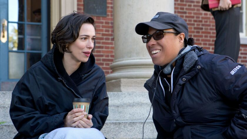 """Actor Rebecca Hall, left, and director Angela Robinson on the set of """"Professor Marston and the Wond"""