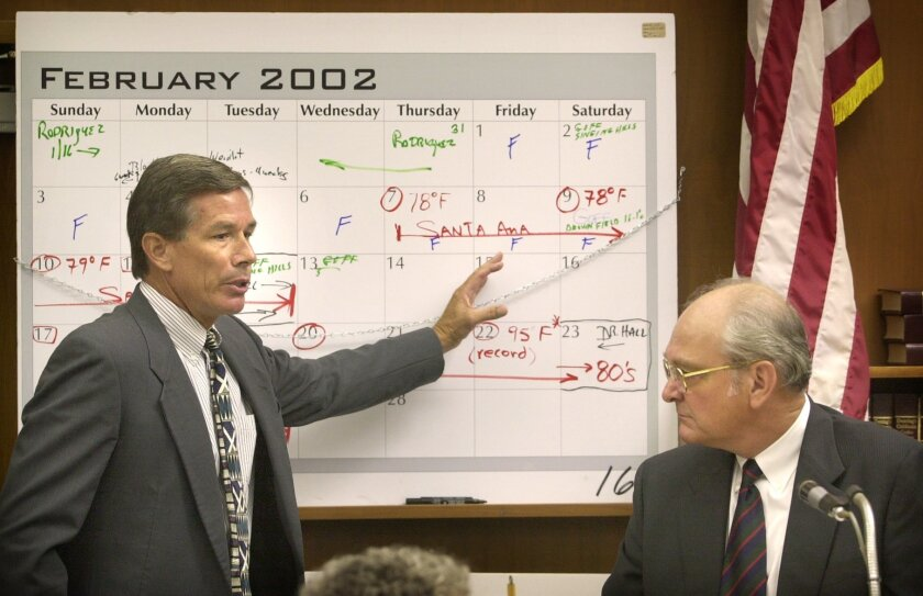 Prosecutor Jeff Dusek, left, questioned Robert Hall, a forensic entomology expert from Missouri, as he testified in the trial of David Westerfield, in 2002.