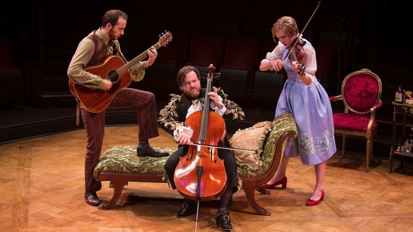 "Kevin Hafso-Koppman, Paul L. Coffey and Jane Pfitsch in ""The Imaginary Invalid."""