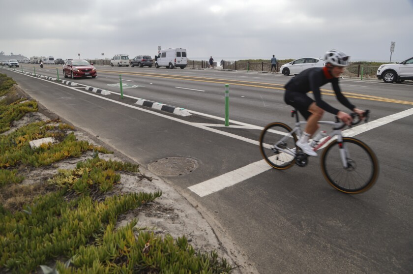 A northbound bicyclist, riding along Highway 101