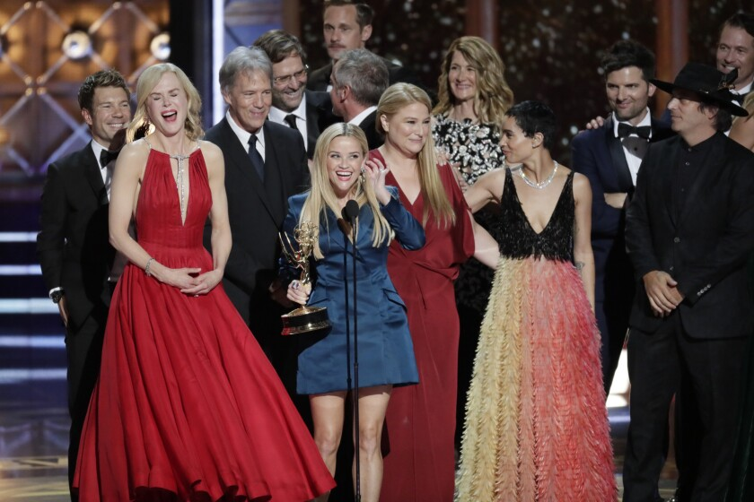 LOS ANGELES, CA., September 17, 2017: Reese Witherspoon, center, accepts for Big Little Lies, winn