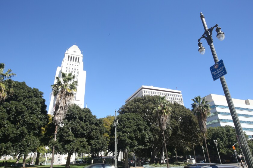 L.A. City Hall is largely closed to the public to stem the spread of the novel coronavirus, but some municipal services are still running. Above, Los Angeles Civic Center.
