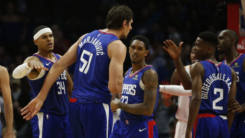 Los Angeles Clippers celebrates during an NBA basketball game against Oklahoma City Thunder Friday,
