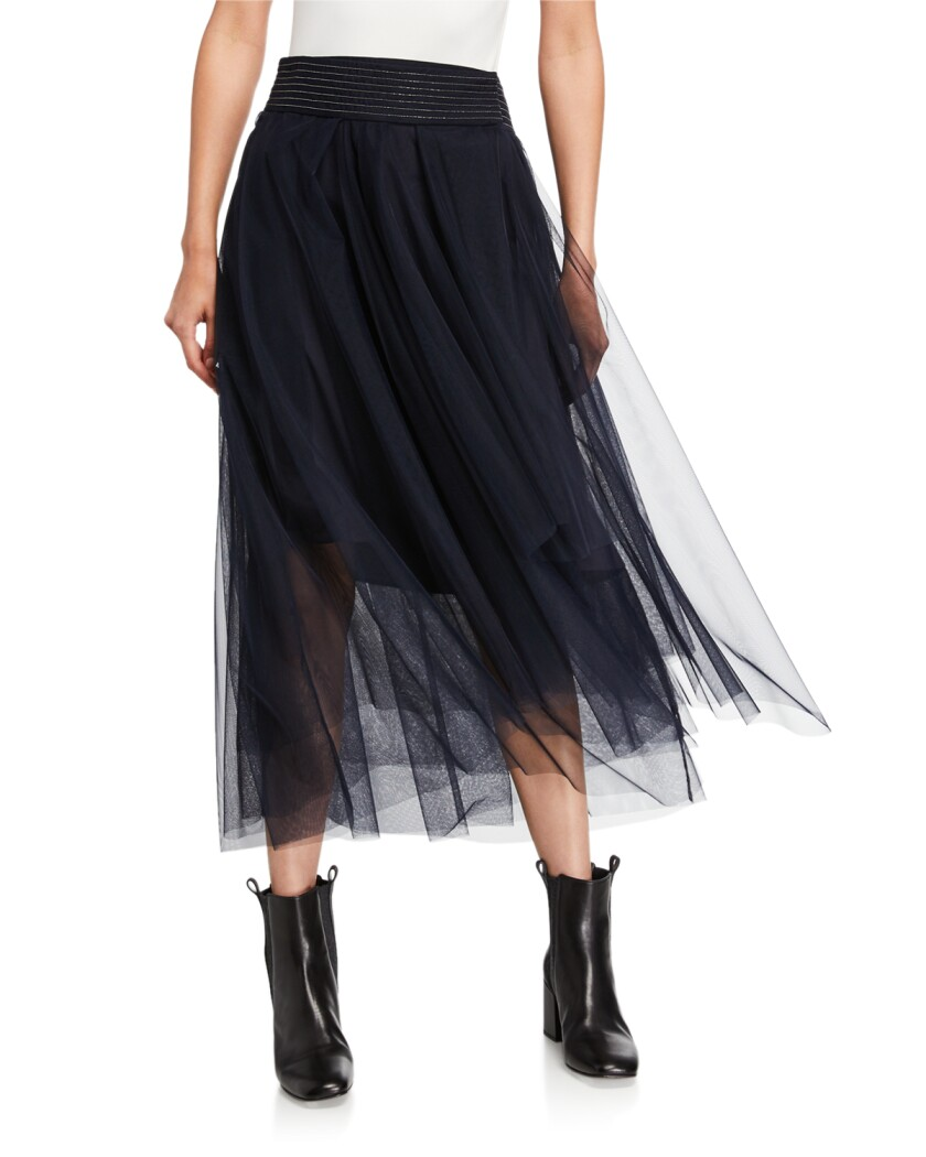A beaded tulle skirt by Brunello Cucinelli.