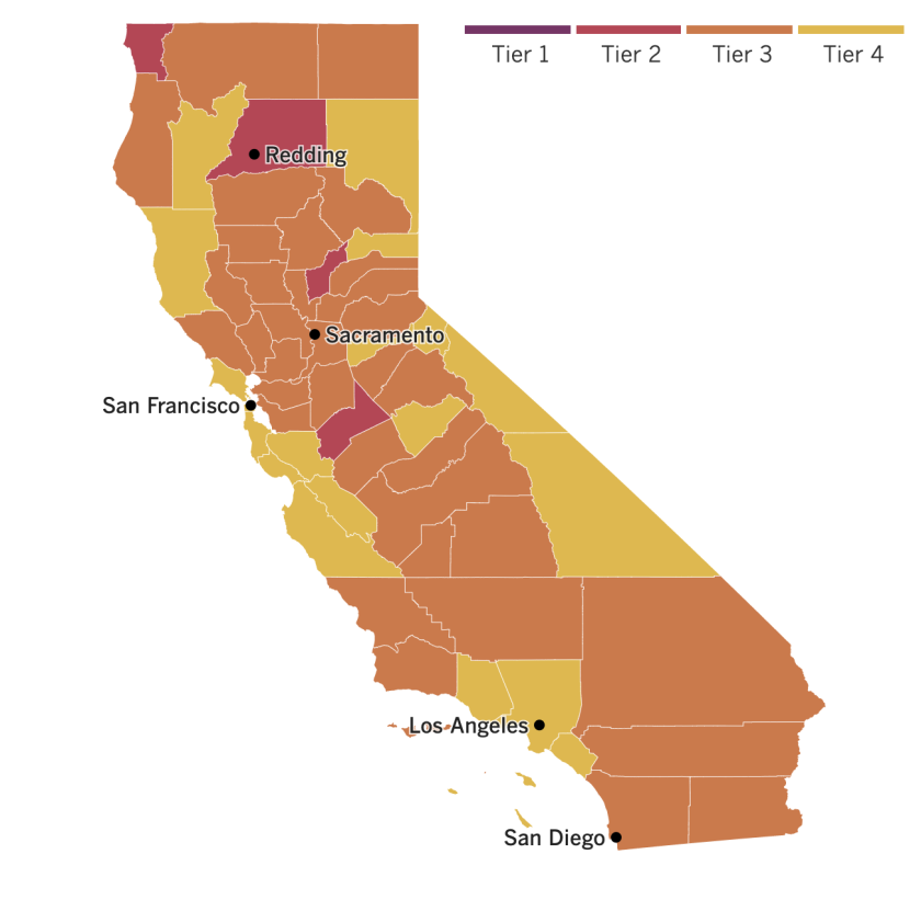 California reopening map: four counties in the red tier, 35 orange and 19 yellow.