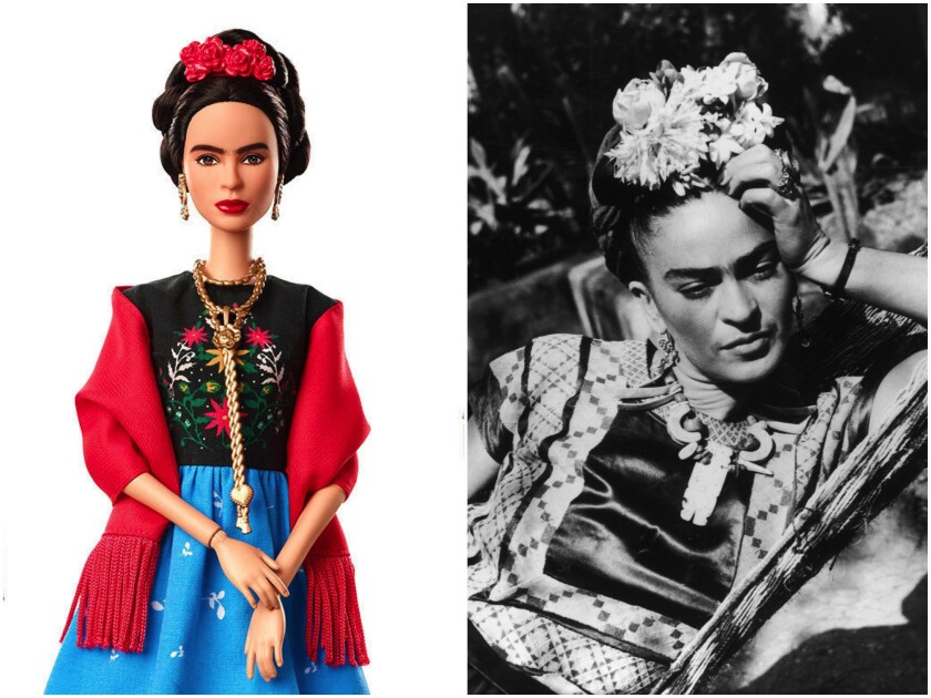 Frida Kahlo Barbie doll from Mattel, left, and a portrait of the artist.