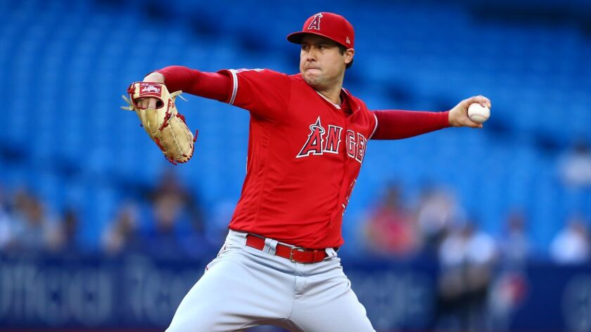 Angels starter Tyler Skaggs delivers during the first inning of a 3-1 victory over the Toronto Blue Jays on Tuesday.