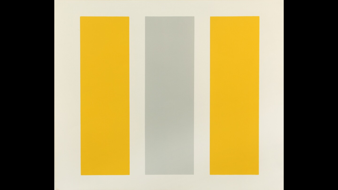 Abstract classicist John McLaughlin's geometric abstractions are on view at the exhibition.