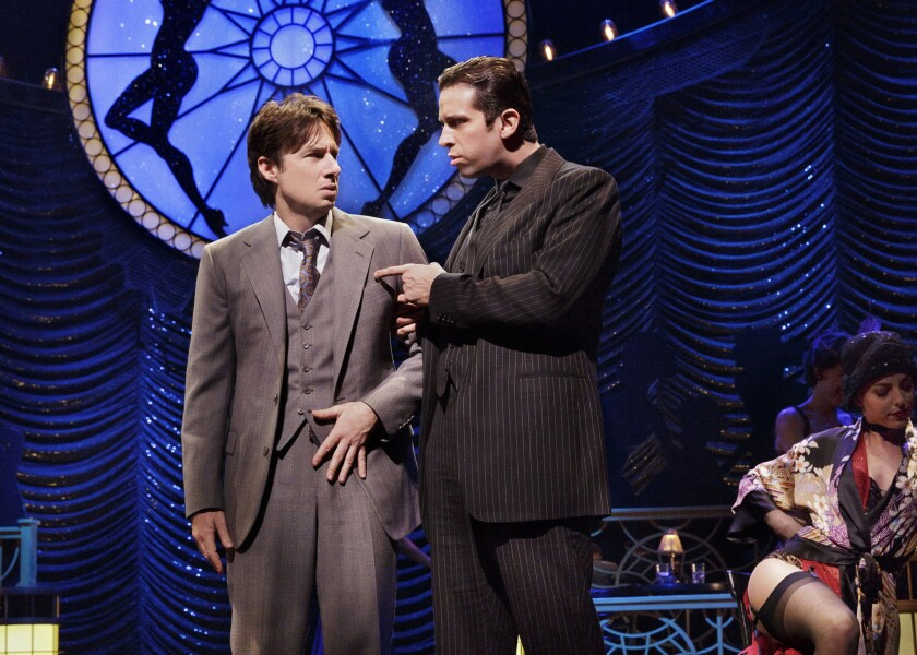 """Nick Cordero, right, with Zach Braff, received a supporting actor nomination in the musical """"Bullets Over Broadway."""" The show is at the St. James Theatre in New York."""