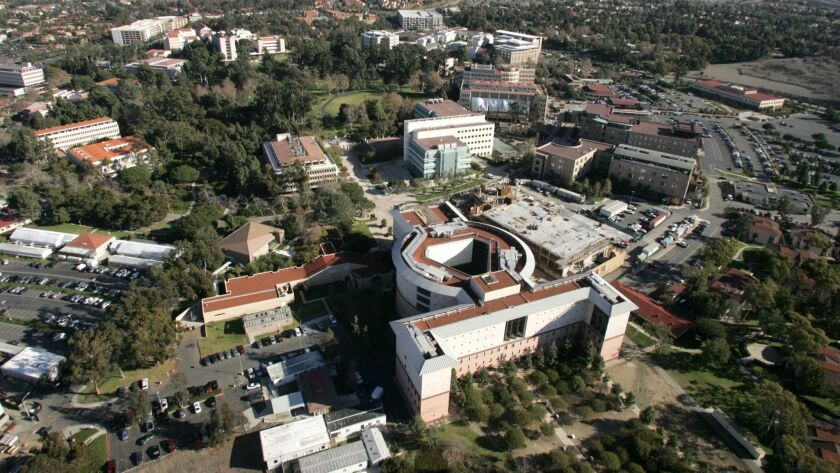 This December 2006 photo, shows an aerial view of the University of California, Irvine, campus. On M
