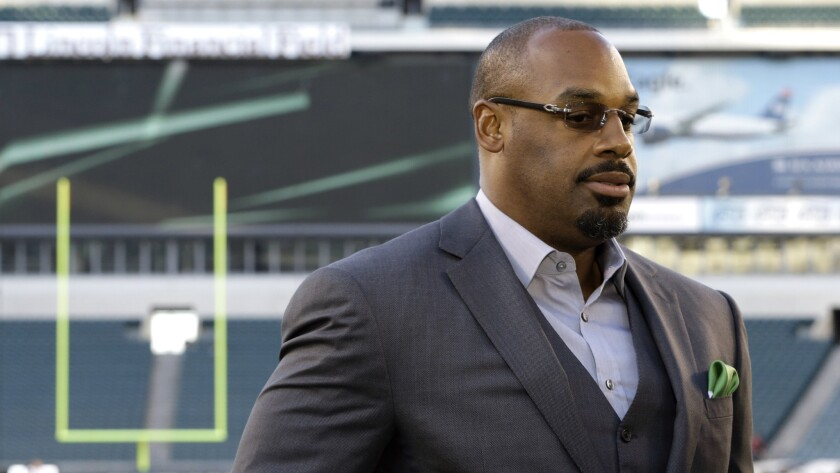 Former Philadelphia Eagles quarterback Donovan McNabb during a television interview before a game between the Kansas City Chiefs and Eagles in Philadelphia on Sept. 19, 2013.
