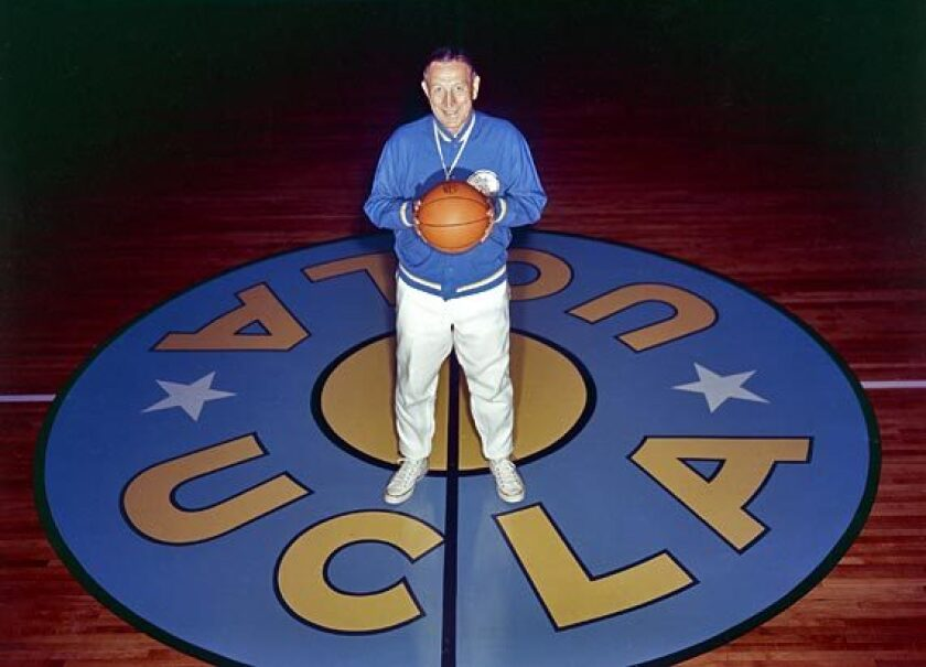 UCLA coach John Wooden at Pauley Pavilion in 1965.