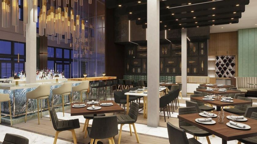 "An artist's rendering of San Diego's RMD Group's Huntress, a ""sophisticated steakhouse and whisky society"" venue opening in the former Grand Pacific Hotel building in the spring. It's one of the most anticipated new San Diego County restaurant projects of 2019."