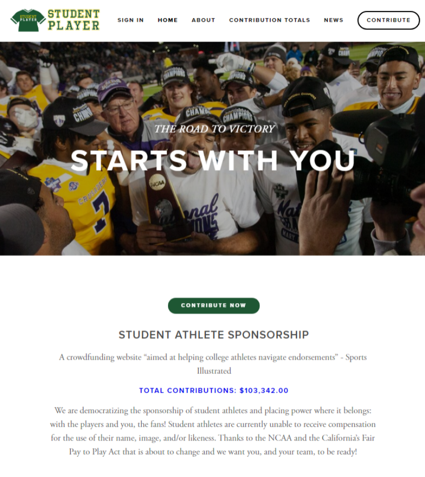 The StudentPlayer.com website shows total contributions to date at $103,342.00.