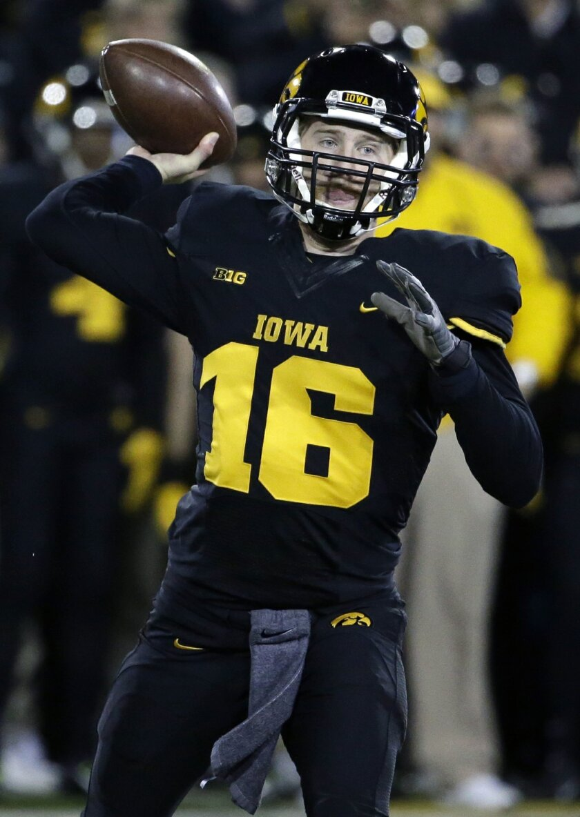 FILE - In this Nov. 14, 2015, file photo, Iowa quarterback C.J. Beathard throws during the first half of an NCAA college football game against Minnesota, in Iowa City, Iowa. Nebraska, which knocked off an unbeaten Michigan State two games ago, gets an opportunity to ruin an opponent's perfect record. This time it's third-ranked Iowa. (AP Photo/Nam Y. Huh, File)