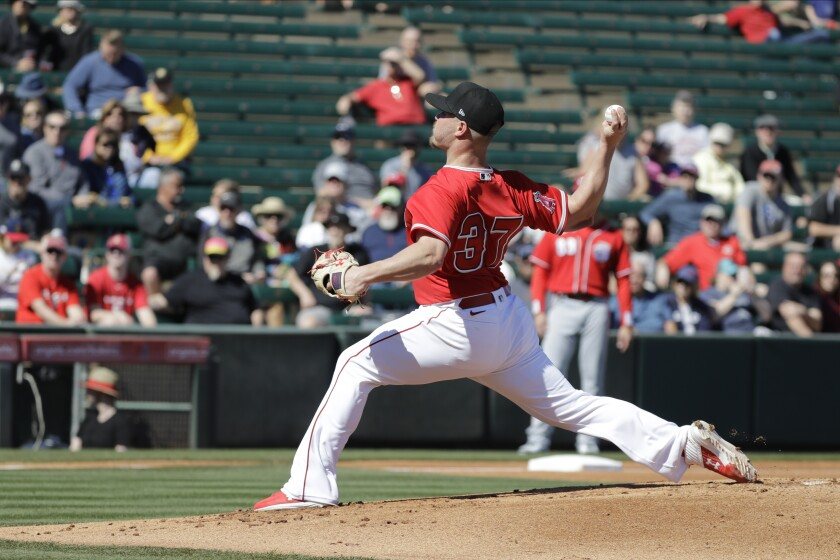 Angels pitcher Dylan Bundy delivers during a game against the Cincinnati Reds on Feb. 25.