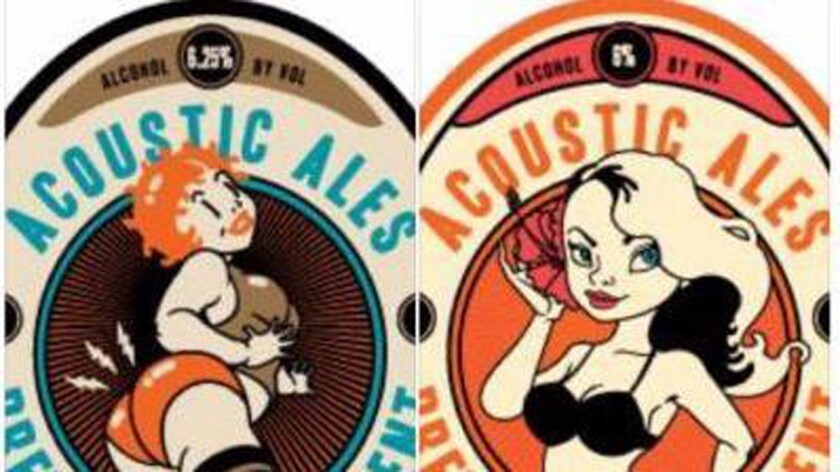 Mockups of proposed new labels for Acoustic Ales beers. (Deleted post from Acoustic's Facebook page)