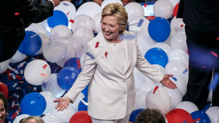 Hillary Clinton celebrates after accepting her party's nomination for presidential candidate at the 2016 Democratic National Convention in Philadelphia on Thursday.