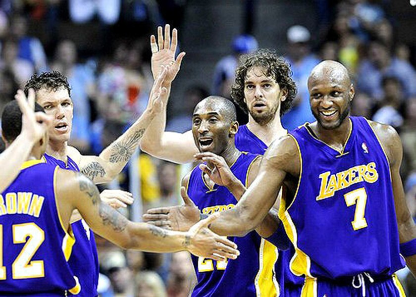 Lakers teammates congratulate Shannon Brown, left, during the 2009 Western Conference finals.