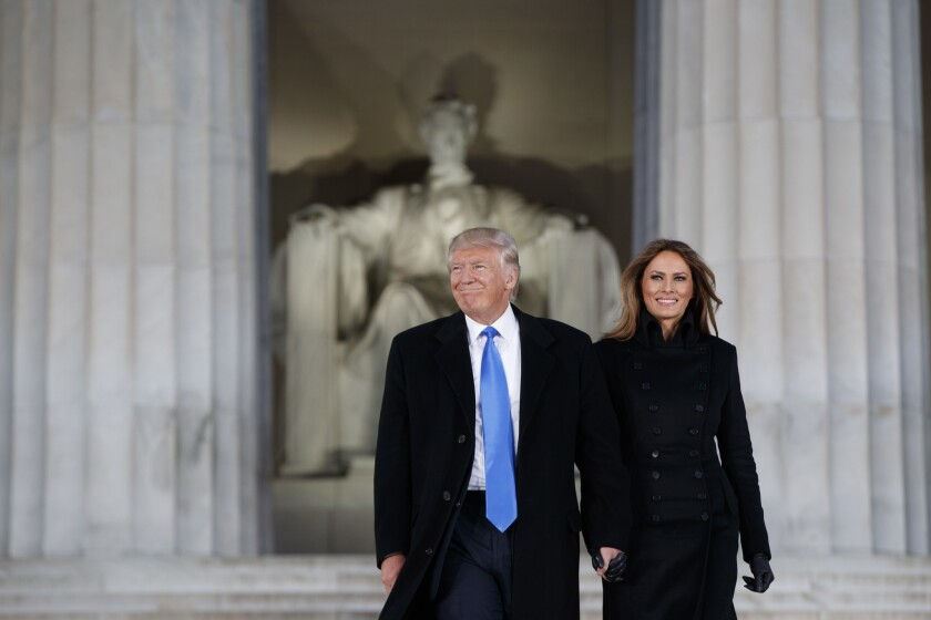 President-elect Donald Trump and his wife, Melania, as they arrived at Thursday's inaugural concert at the Lincoln Memorial.