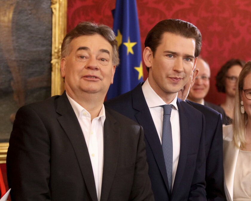 New Vice Chancellor Werner Kogler, left, and Chancellor Sebastian Kurz, right, attend the swearing-in ceremony of the new Austrian government of the conservative Austrian People's Party, OEVP, and the Austrian Green party in Vienna, Austria, Tuesday, Jan. 7, 2020. (AP Photo/Ronald Zak)
