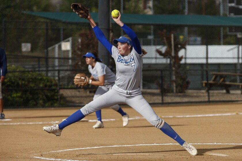 Rancho Bernardo pitcher Allie Boaz (7) pitches in the sixth inning against Bonita Vista.
