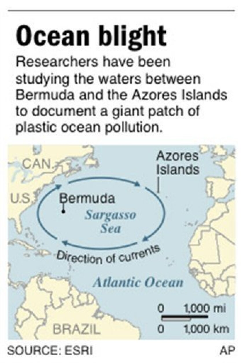 Graphic shows area of Atlantic Ocean where researchers have been studying ocean pollution