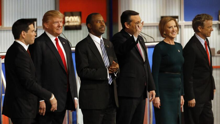 En un último breve turno de palabra, los ocho participantes republicanos en el debate organizado por Fox Business y The Wall Street Journal coincidieron en recuperar sus ideas fuerza, cargaron contra el legado de Obama y su continuidad en la precandidata Hillary Clinton.