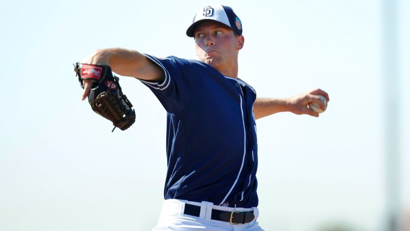 San Diego Padres Robbie Erlin pitches during a spring training practice on Feb. 26, 2015.
