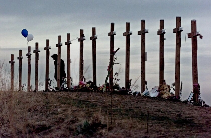 Crosses dot a hill in Littleton, Colo., in April 1999 after the shooting rampage at Columbine High School.