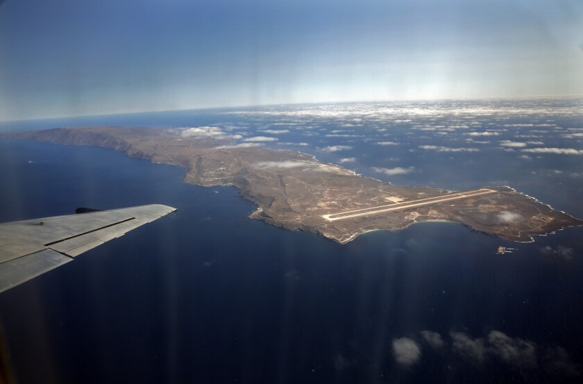 San Clemente Island viewed from an aircraft that regularly flies military and civilian personnel to the U.S. Navy-owned island. On Monday, a man's body was found on the ocean floor near the island.