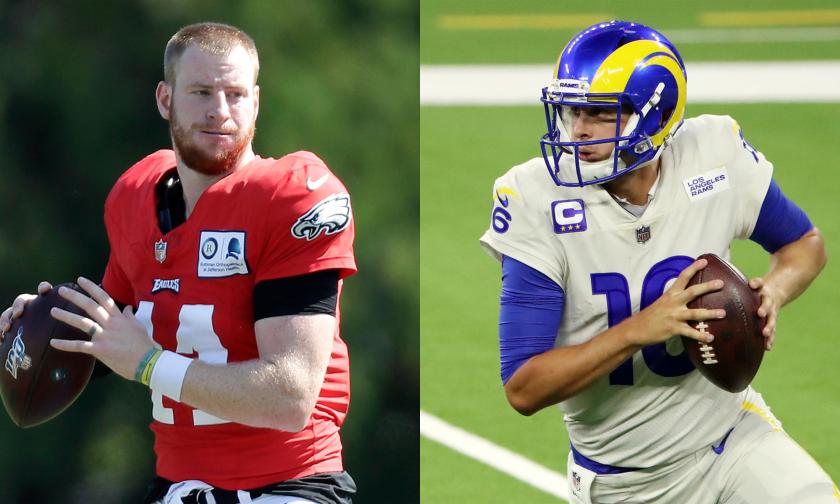 Philadelphia Eagles quarterback Carson Wentz and Rams quarterback Jared Goff.