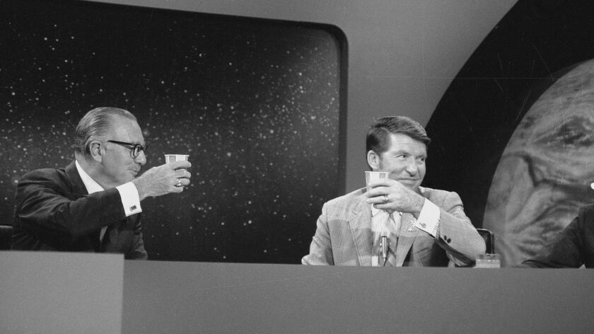 """July 20, 1969 CBS NEWS Walter Cronkite, left and Walter """"Wally"""" Schirra at the CBS News Space Center"""