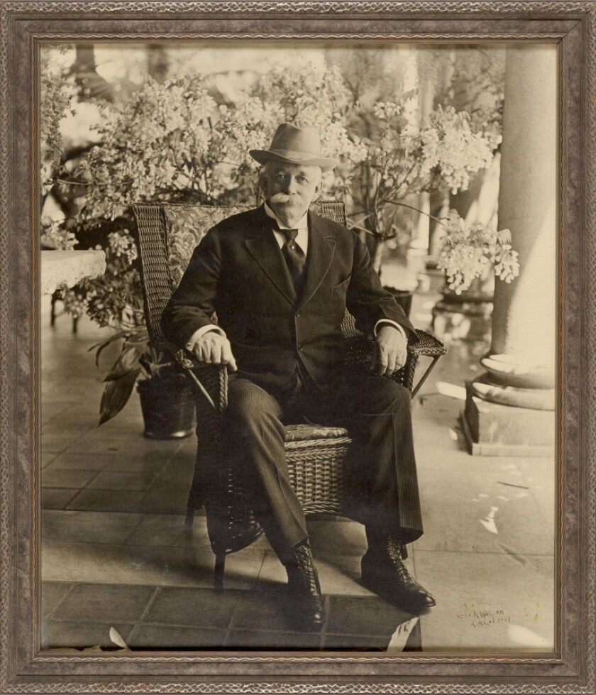 """Portrait of Henry E. Huntington on Loggia of San Marino Residence,"" April 1919, gelatin silver print, by George R. Watson."