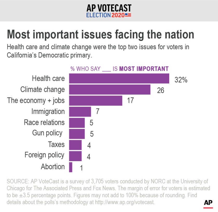 AP VoteCast looks at the top issues for California's Democrats.;