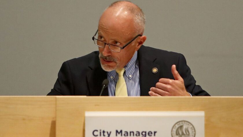 City Manager Dave Kiff speaks during a Newport Beach City Council meeting on Tuesday, April 10.