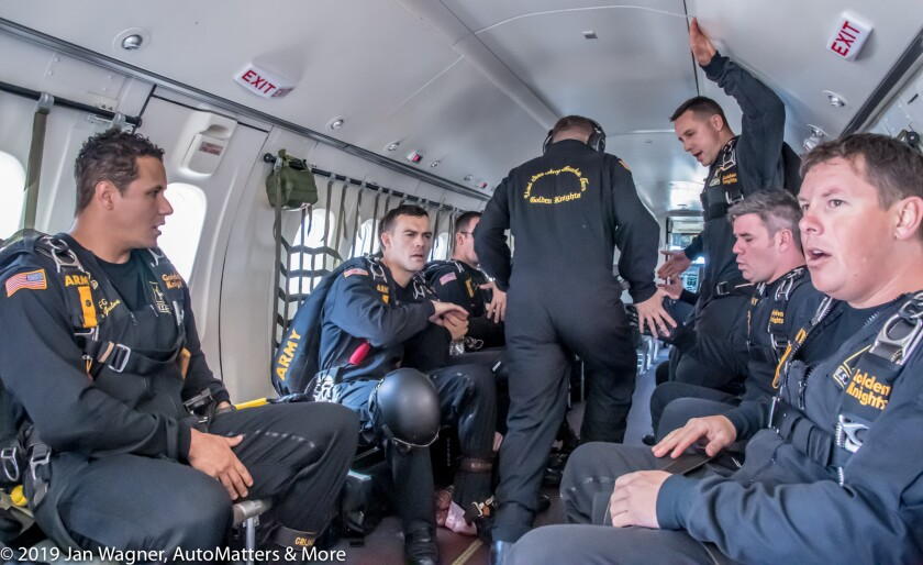 U.S. Army Golden Knights preparing for their skydive
