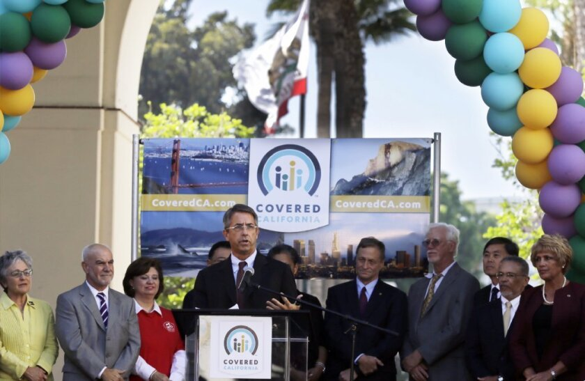 Peter Lee, executive director of Covered California, discusses the launch of the state's insurance exchange Tuesday in Los Angeles.