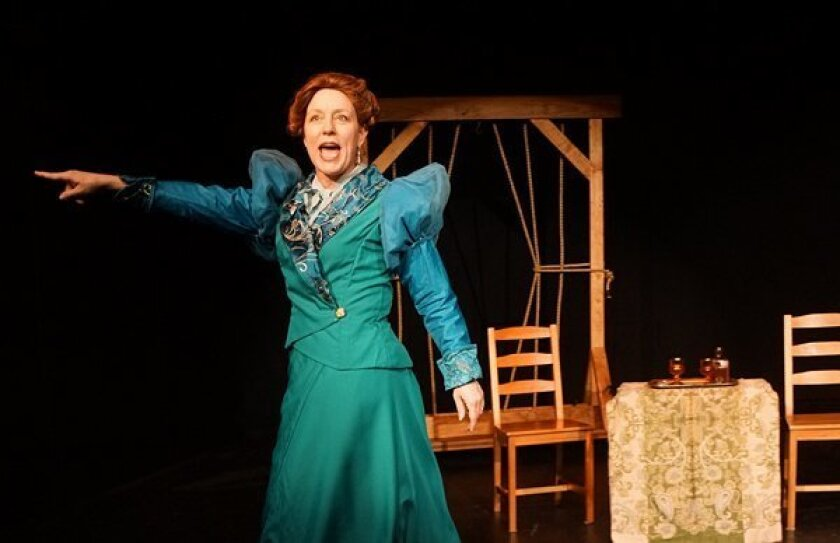Teresa Kelsey as Mildred Maledon, the celebrity seeking hangman's wife in Mark Sickman's musical, 'Rope.' Sickman likens his character to an early American version of Kim Kardashian.