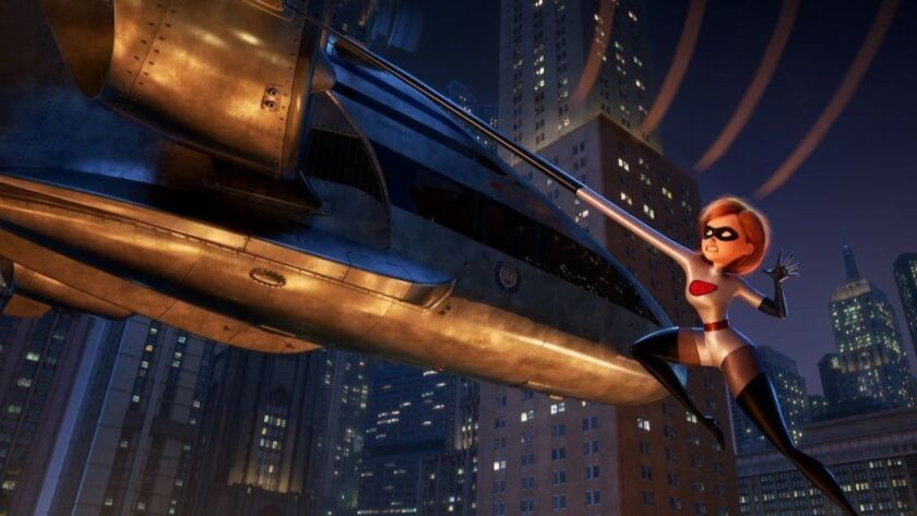 "Elastigirl is called on to lead a campaign to bring Supers back in ""Incredibles 2"" - a mission that involves a helicopter chase among other Incredible stunts."