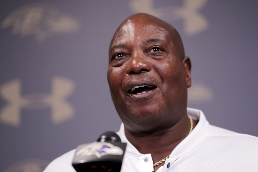 FILE - In this July 26, 2019, file photo, former Baltimore Ravens general manager Ozzie Newsome speaks during an NFL football news conferencing in Owings Mills, Md. The NFL is hosting its inaugural Ozzie Newsome General Manager Forum on Monday, June 21, 2021, in an effort to increase diversity in from offices. Newsome, a Pro Football Hall of Fame tight end, was the first Black GM in league history (AP Photo/Julio Cortez, File)