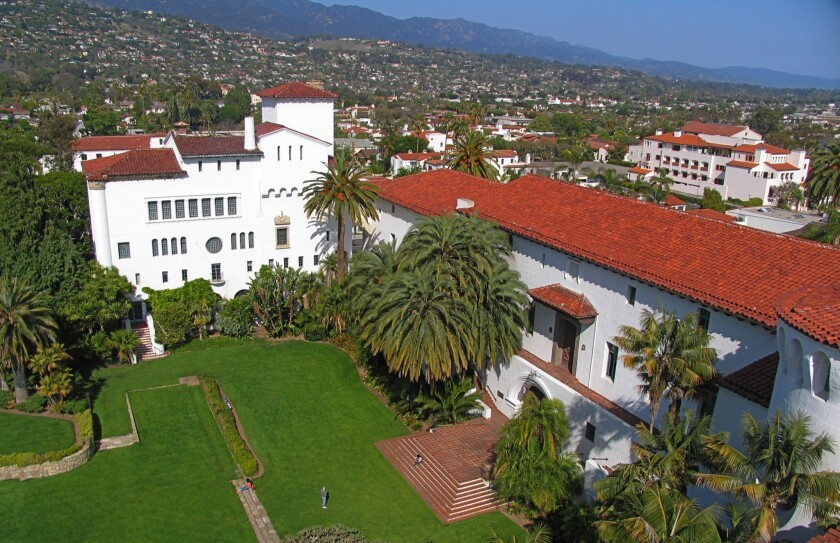 Santa Barbara's landmark county courthouse has a clock tower that visitors can climb for views of the coast and town.