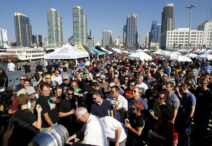 On your mark, get set -- quaff! Then-Mayor Jerry Sanders tapped a keg on the Broadway pier to begin last year's San Diego Beer Week.
