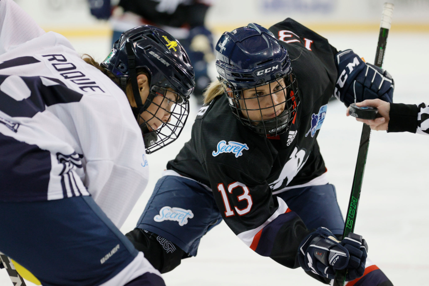 Brianna Decker faces off against Abby Roque during a Dream Gap tour game Feb. 28 at Madison Square Garden.